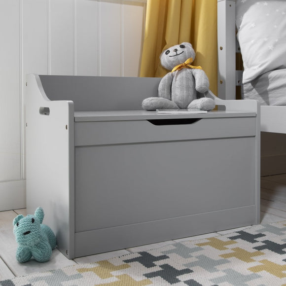 Kids Wooden Toy Box and Bench with Slow Release Hinge | Toy Storage in Dove Grey | 62cm Long