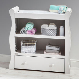 The White Wooden Willow open baby changing unit with drawer is a part of a vintage-style furniture collection