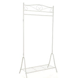 """Princess"" Themed Non Rusting Metal Dressing up Rail with Shoe Rack in White at 1.73m High with rail and shelf"