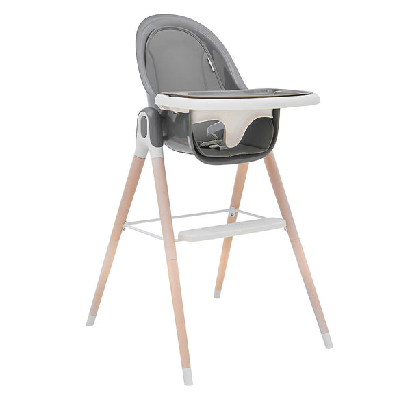 Our contemporary reclining high chair comes with solid beechwood legs, a hi gloss seat, pad liner and tray with inner liner