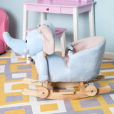 This rocking horse elephant features 4 rolling wheels and wooden rails, making it more than a rocking horse