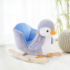 This super cute and cuddly rocking horse penguin in a soft blue and white design will amuse and delight your tot