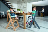 This height adjustable natural wooden high chair can be used from 6m with or without tray up to 10 years as an every day chair
