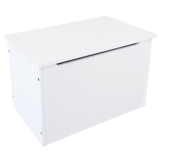 Wooden Toy Box | Toy  Chest | Blanket Box | Ottoman with Hinge | White