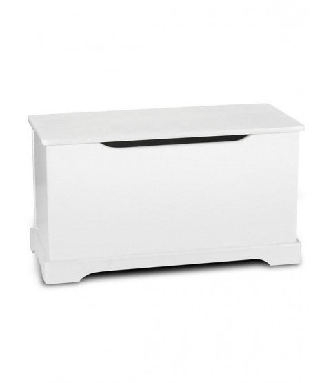 Kids | Childrens Wooden Toy Box with Safety Hinge | Ottoman | Blanket Box | White | 65 x 29 x 12cm