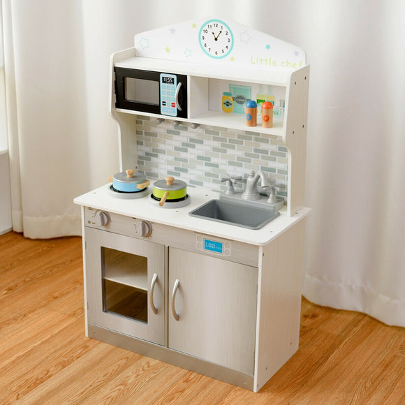 Children's | Kids Wooden Toy Kitchen including Playset | White & Grey | 3-7 Years