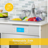 Removable sink is included in this toy kitchen playset (pretend fruit and veg not supplied)