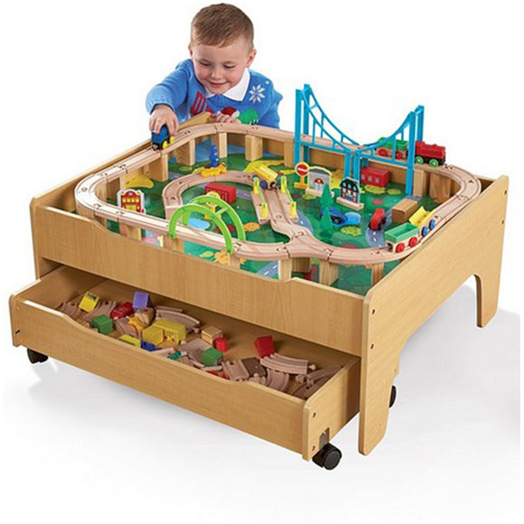 Wooden Train Set , 2-in-1 Wooden Train Table & City Play Table with 120pc Train Set