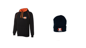4x4 Indistress Adult Hoodie and Navy Beanie Bundle | FREE Navy Stubbie Cooler