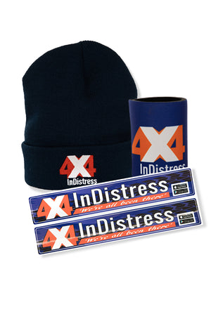 4x4Indistress Cooler, Beanie & Sticker Bundle | Navy