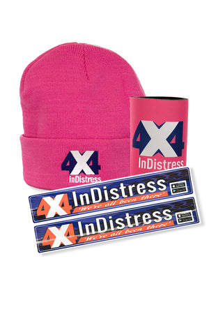4x4Indistress Cooler, Beanie & Sticker Bundle | Pink