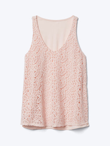 Crochet lace scoop tank