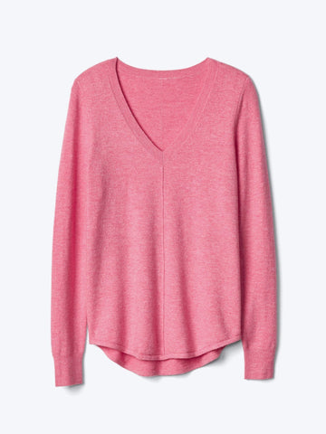 Deep V-neck long sleeve sweater