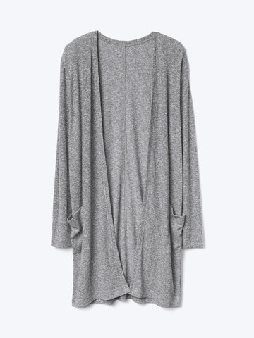 Marled open-front long cardigan