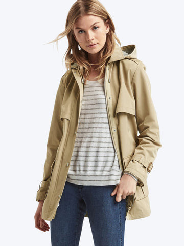 Twill short hooded trench