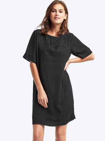 Flowy embroidered shift dress