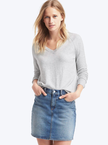 Soft open V-neck sweater
