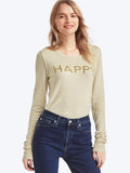 Happy intarsia crewneck sweater