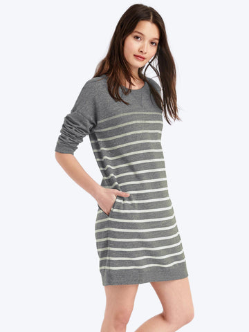 Three-quarter sleeve sweatshirt dress