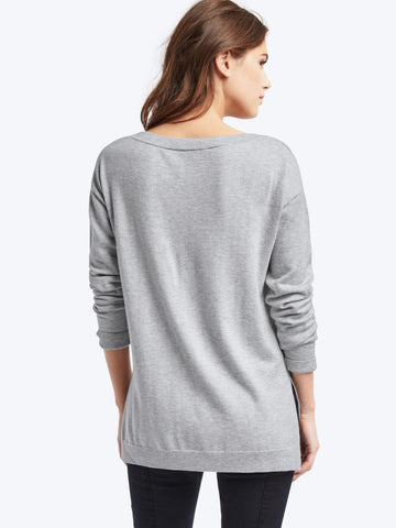 Heart intarsia drop shoulder sweater