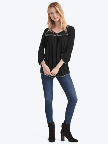 Drapey contrast-stitch long sleeve top