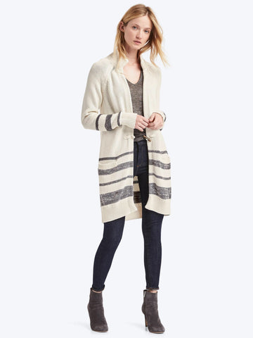 Stripe toggle-front stripe long cardigan