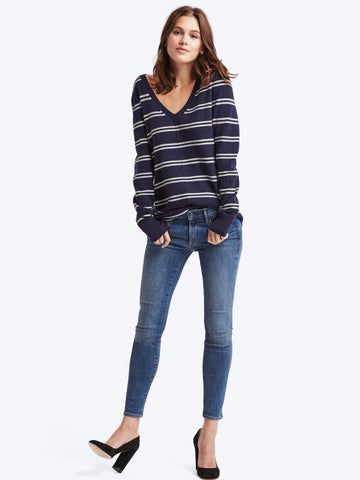 Stripe deep V-neck sweater