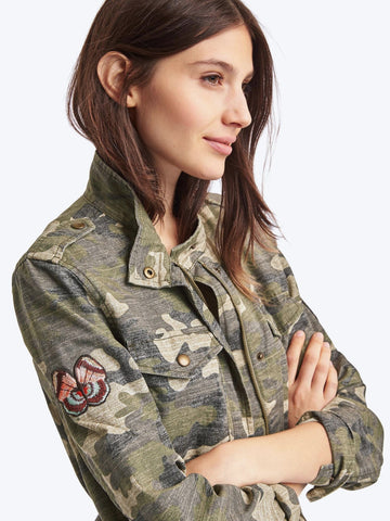 Embroidered camo utility jacket
