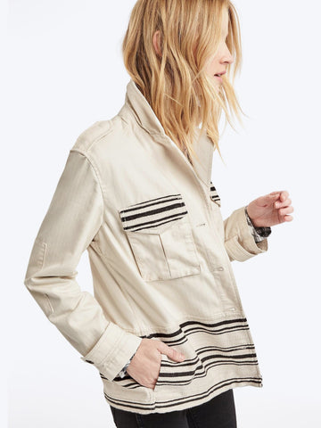 Textured stripe utility jacket
