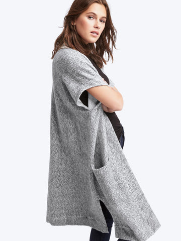 Fleece open-front duster cardigan