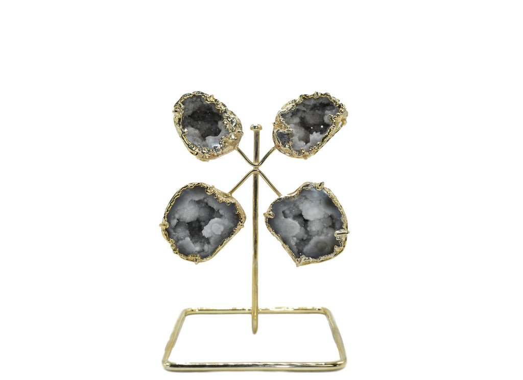 Quartz Geode From Morocco on Wire Stand
