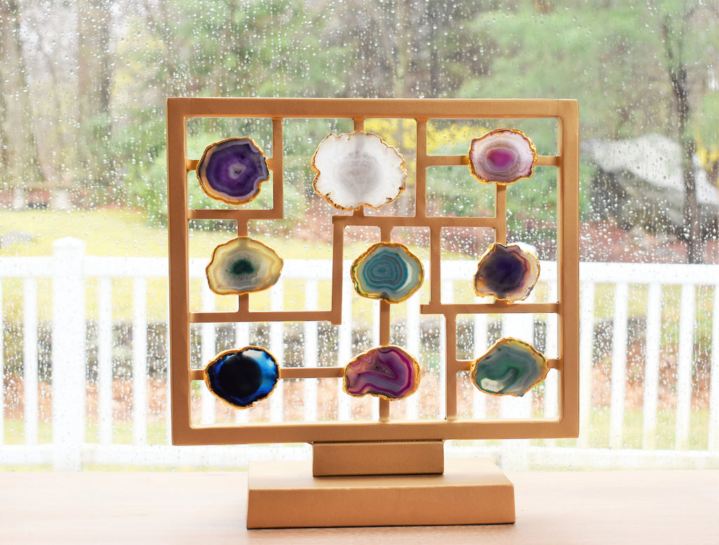 Agate Slices on Gold Stand