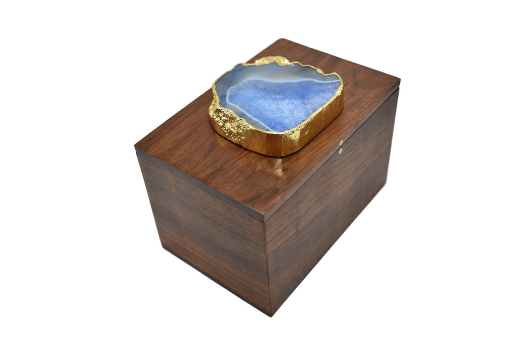 Square Wooden Box with Agate Top