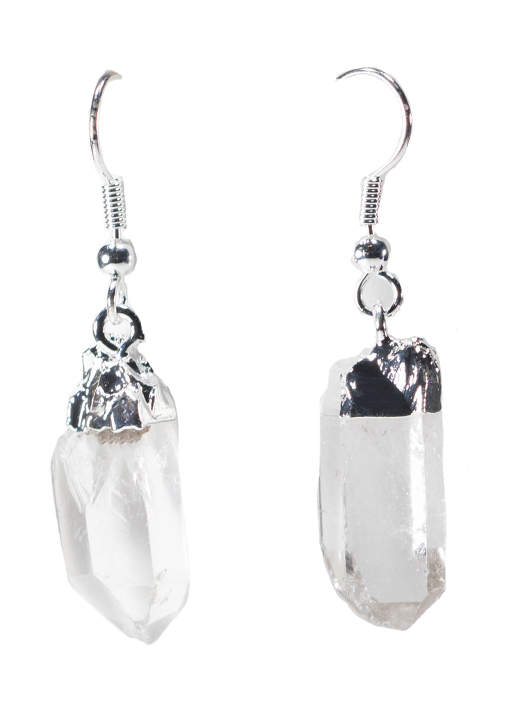 Raw Gemstone Points Earrings with Silver