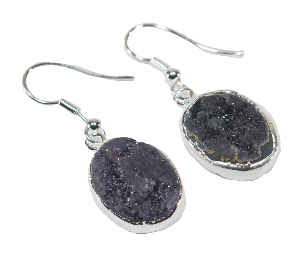 Druse Amethyst Earrings with Silver