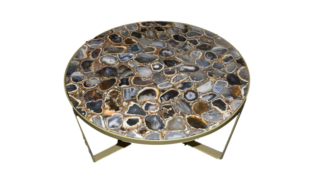Round Agate Composite Coffee Table with Powdered Gold Trim