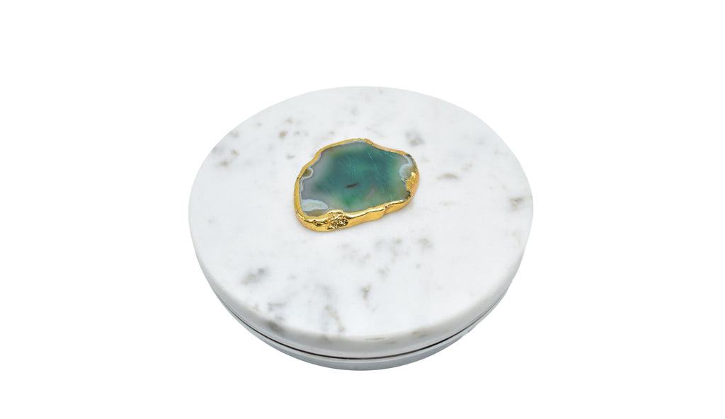 Steel Circular Box with Marble Lid