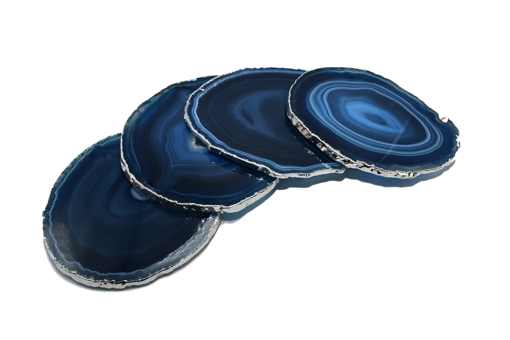 Set of 4 Agate Coasters with Silver trim