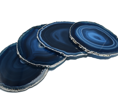 Agate Coaster set of 4 with Silver trim