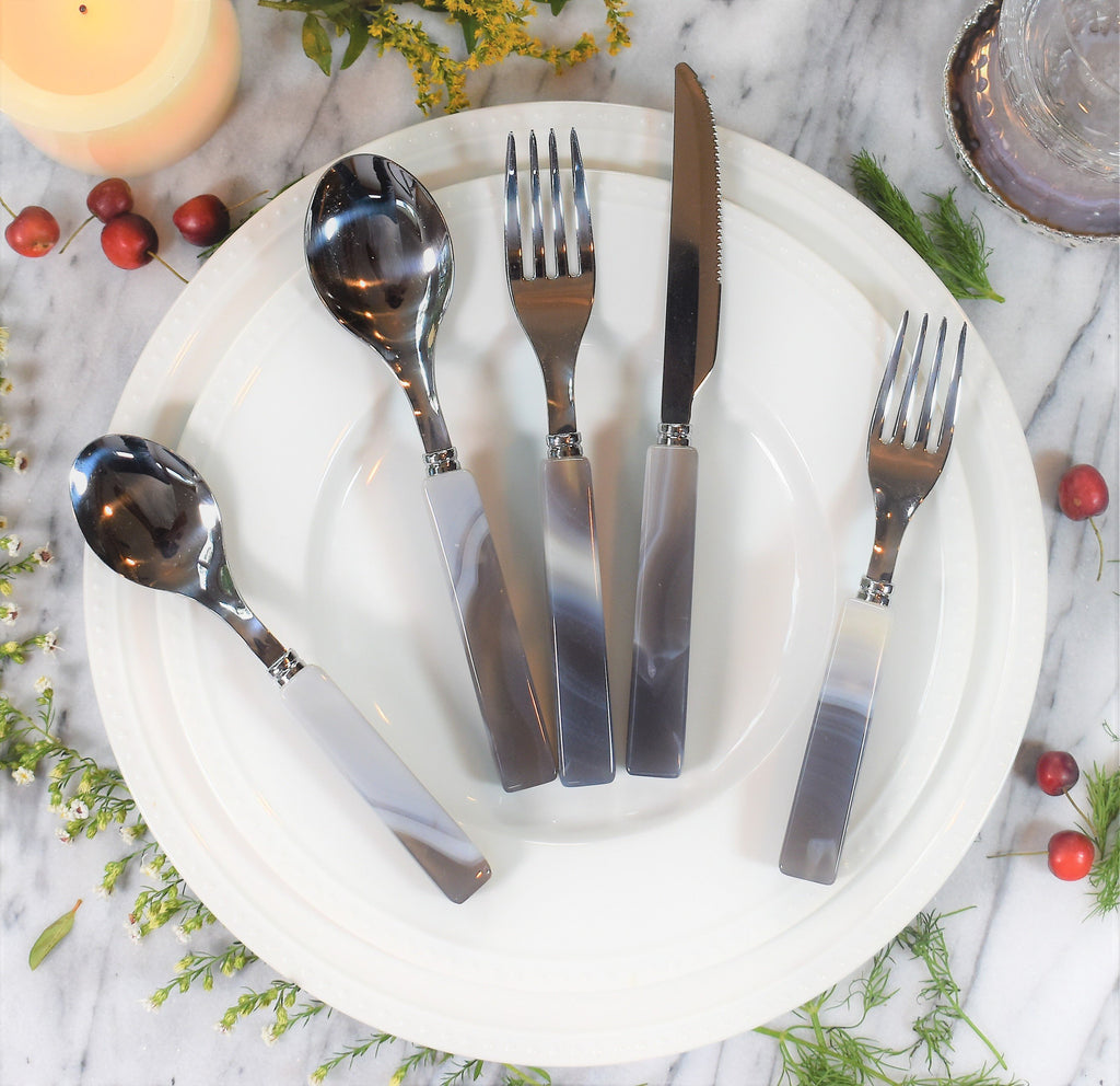 5 Piece Agate Flatware set