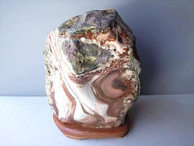 Agate Specimen in Wood Base