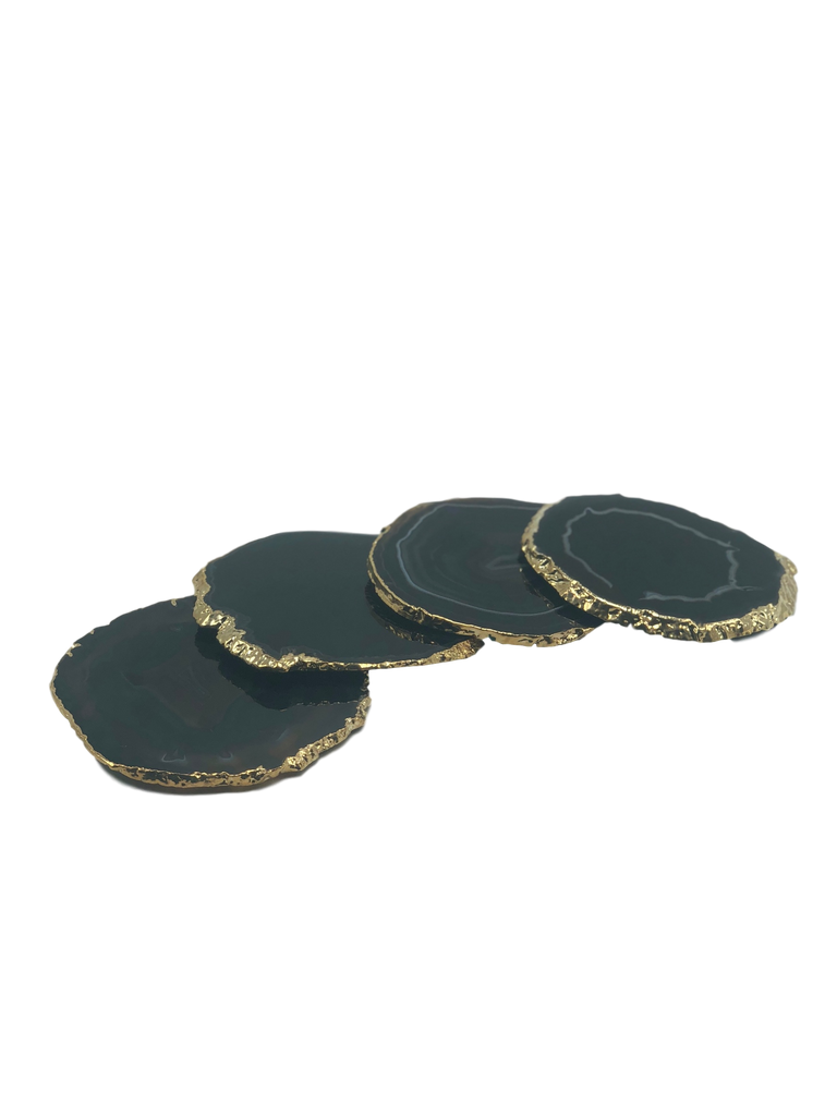 Set of 4 Agate Coasters with Gold Trim