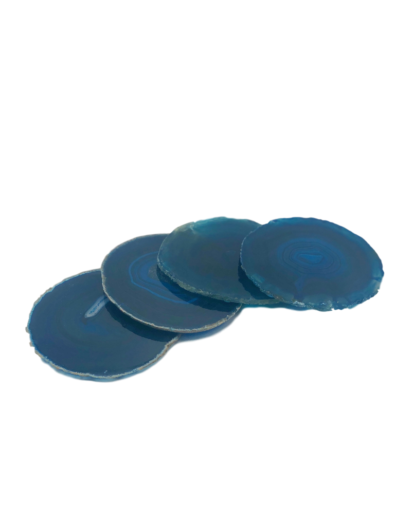 Set of 4 Agate Coasters with Natural Trim