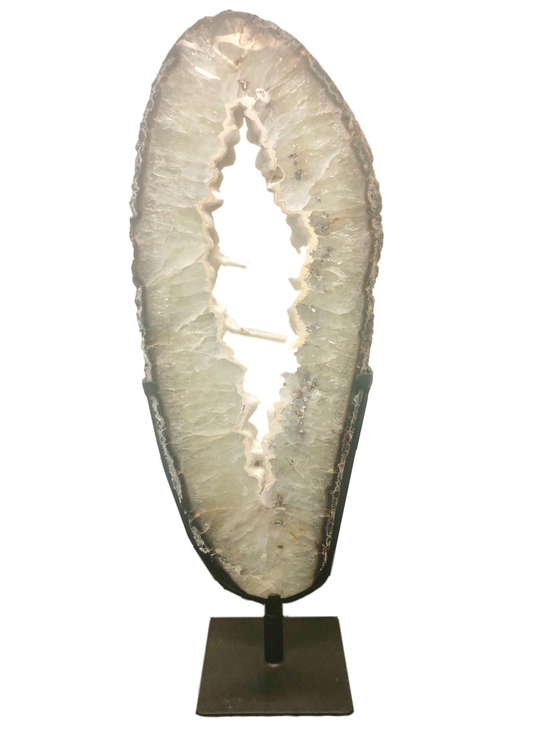 Agate Slab on Metal Stand