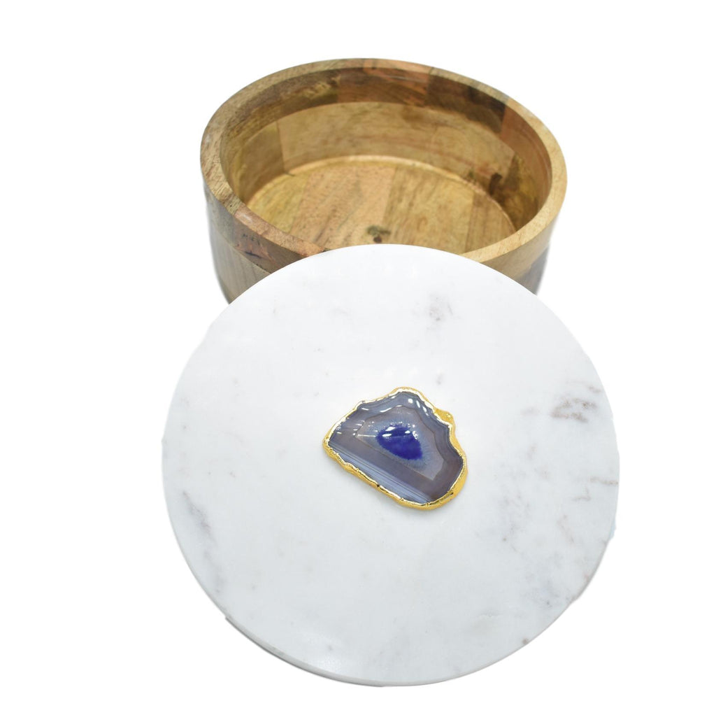 Round Wooden Box with Marble Lid