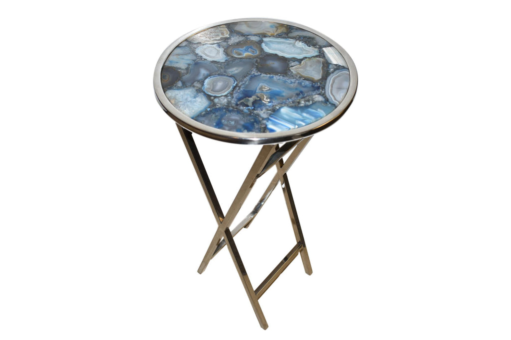 "14"" Round Pastel Blue Agate Composite Side Table with Polished Steel Trim"