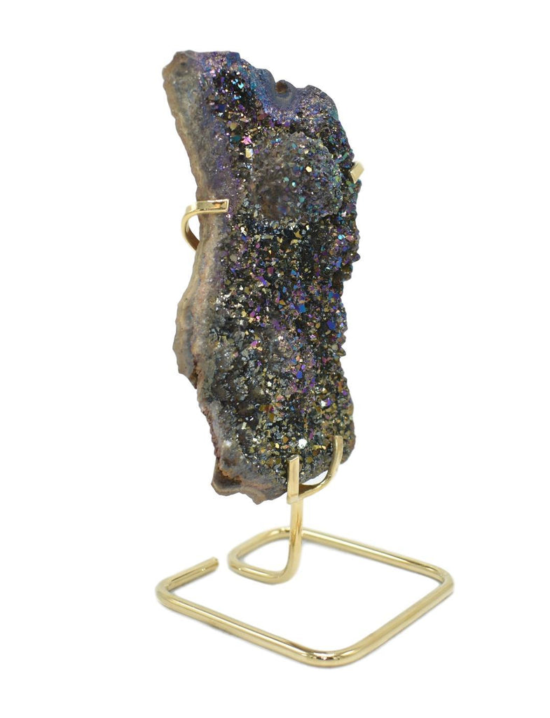 Metalized Amethyst Cluster on Wire Stand