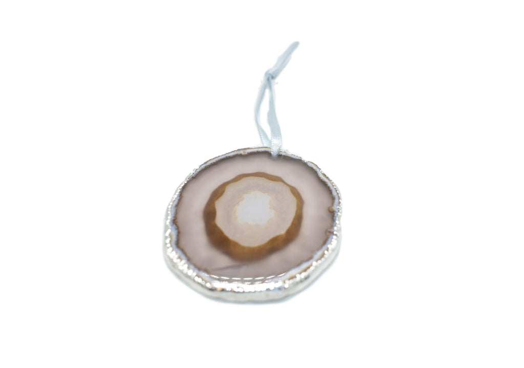 Agate Ornament with Silver Electroplating