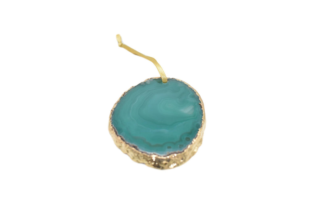 Agate Ornament with Gold Electroplating