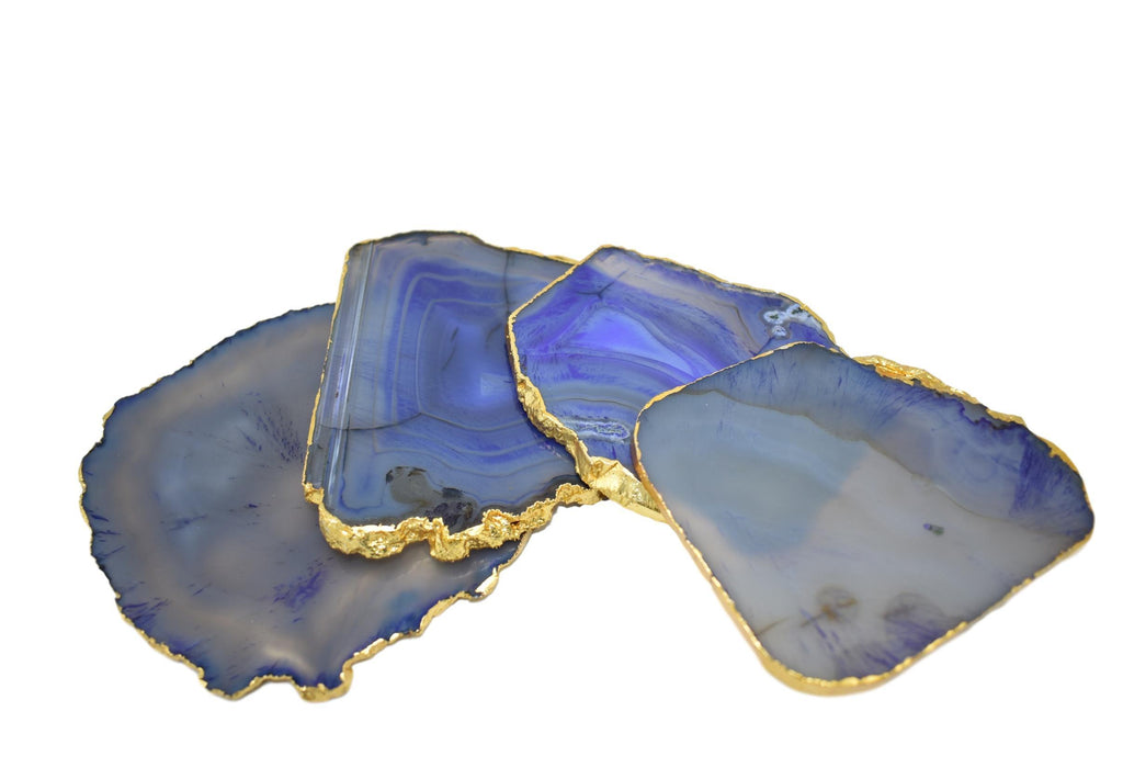 Gnarled Agate Coasters with Gold Trim, Set of 4